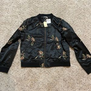 Satin Floral Embroidery Bomber Jacket NWT